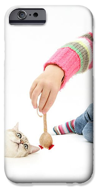 Girl Playing With Cat iPhone Case by Mark Taylor