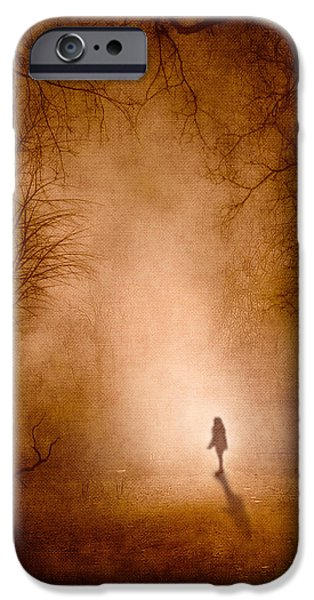 Fog Mist Mixed Media iPhone Cases - Girl iPhone Case by Svetlana Sewell