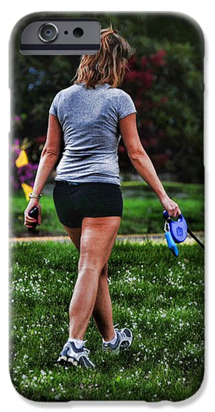 Girl walking dog iPhone Case by Paul Ward