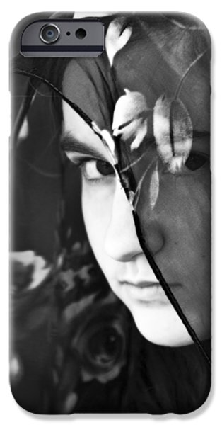Young Mixed Media iPhone Cases - Girl With A Rose Veil 2 BW iPhone Case by Angelina Vick