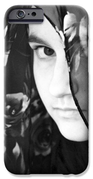 Young Mixed Media iPhone Cases - Girl With A Rose Veil 3 BW iPhone Case by Angelina Vick