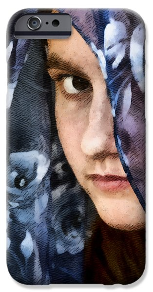 Young Mixed Media iPhone Cases - Girl With A Rose Veil 3 Illustration iPhone Case by Angelina Vick