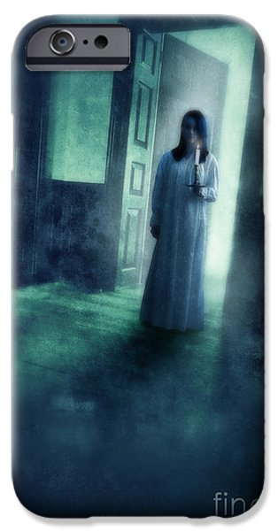 Girl with Candle in Doorway iPhone Case by Jill Battaglia