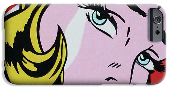 Ludzska Paintings iPhone Cases - Girl With Ribbon iPhone Case by Luis Ludzska