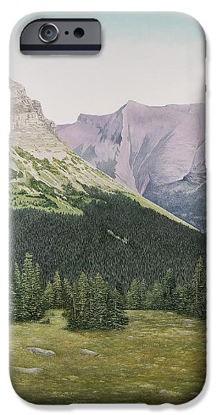 Park Scene Paintings iPhone Cases - Glacier National Park Montana iPhone Case by Mary Ann King