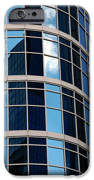 Buildings In Nashville iPhone Cases - Glass Window Reflection iPhone Case by Susanne Van Hulst