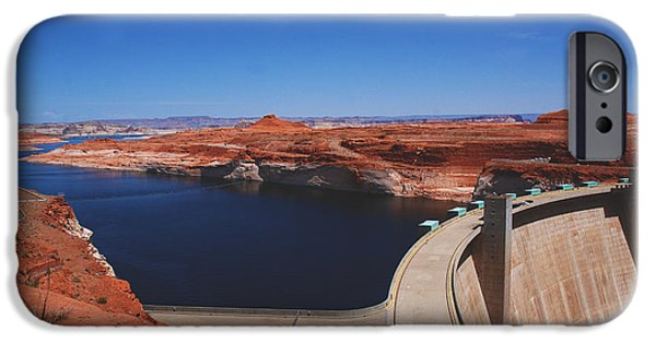 Glen Canyon iPhone Cases - Glen Canyon Dam at Lake Powell by Page Arizona iPhone Case by Susanne Van Hulst
