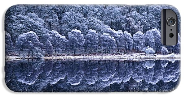 Trees Reflecting In Water iPhone Cases - Glendalough National Park, County iPhone Case by Richard Cummins