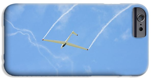Planes Photographs iPhone Cases - Glider Aerobatics Against Blue Sky Canvas Poster Photo Print iPhone Case by Keith Webber Jr
