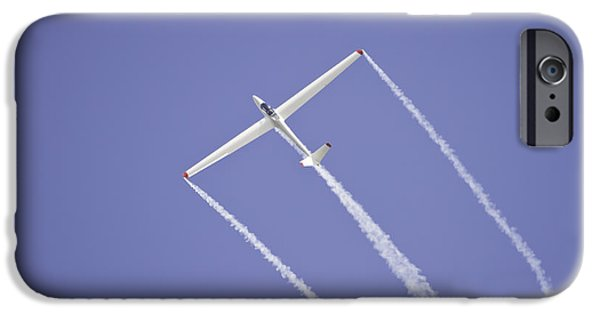 Planes Photographs iPhone Cases - Glider Flying Aerobatics At Airshow Canvas Photo Poster Print iPhone Case by Keith Webber Jr