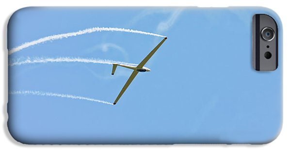 Aero iPhone Cases - Glider Flying Aerobatics At Airshow Phot Canvas poster Print iPhone Case by Keith Webber Jr