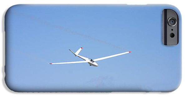 Glider iPhone Cases - Glider Flying In Blue Sky Canvas Photo Poster Print iPhone Case by Keith Webber Jr
