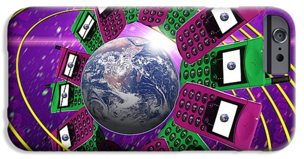 Art Mobile iPhone Cases - Global Communication iPhone Case by Victor Habbick Visions