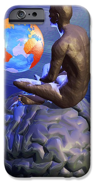 Gaia iPhone Cases - Global Thought, Conceptual Artwork iPhone Case by Laguna Design