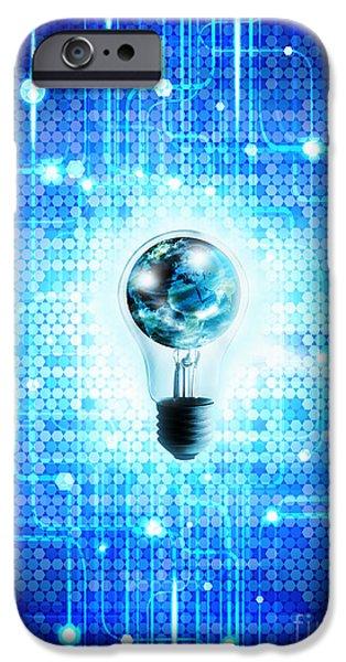 globe and light bulb with technology background iPhone Case by Setsiri Silapasuwanchai