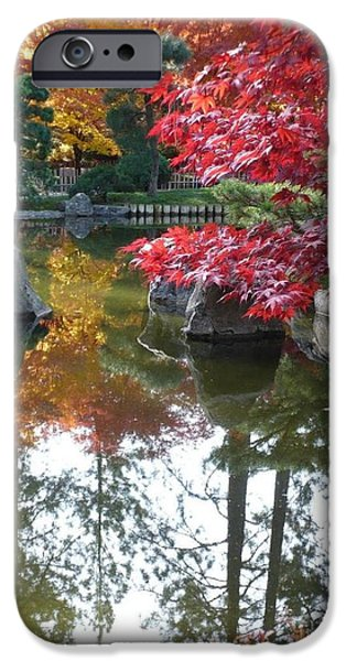 Glorious Fall Colors Reflection with Border iPhone Case by Carol Groenen