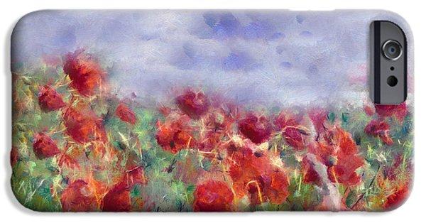 Zeana Romanovna iPhone Cases - Glorious Poppy Field iPhone Case by Georgiana Romanovna