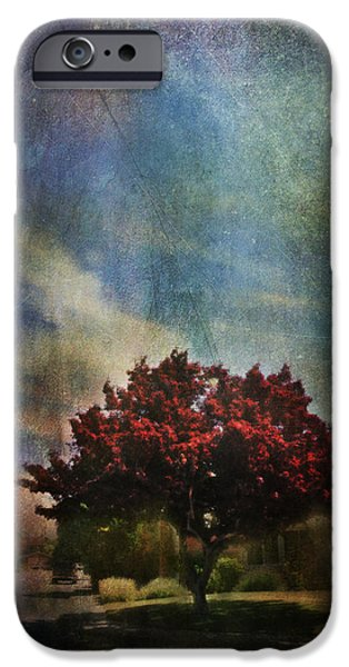 Red Leaf Digital Art iPhone Cases - Glory iPhone Case by Laurie Search