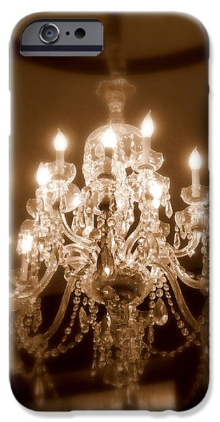 Chandelier iPhone Cases - Glow from the Past iPhone Case by Karen Wiles