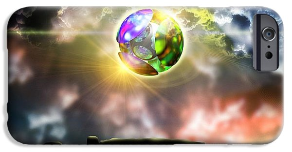 Foo Fighters iPhone Cases - Glowing Ball Ufo Over Stonehenge iPhone Case by Victor Habbick Visions