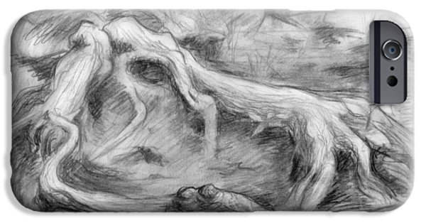 Tree Roots Drawings iPhone Cases - Gnarled iPhone Case by Adam Long