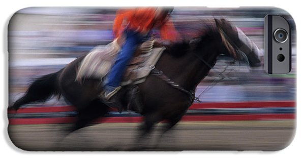 Wild Racers iPhone Cases - Rodeo Go For Broke iPhone Case by Bob Christopher