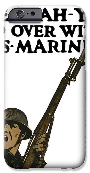 Go Over With US Marines iPhone Case by War Is Hell Store