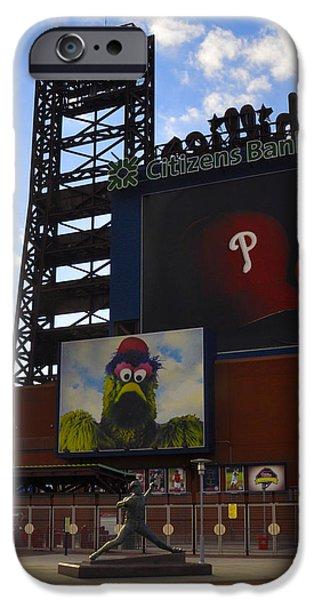 Citizens Bank Park iPhone Cases - Go Phillies - Citizens Bank Park - Left Field Gate iPhone Case by Bill Cannon