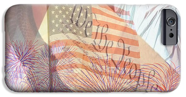 4th Of July iPhone Cases - God Bless the USA iPhone Case by Cheryl Young
