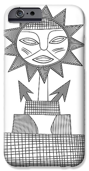 Religious Drawings iPhone Cases - God of Sun iPhone Case by Michal Boubin
