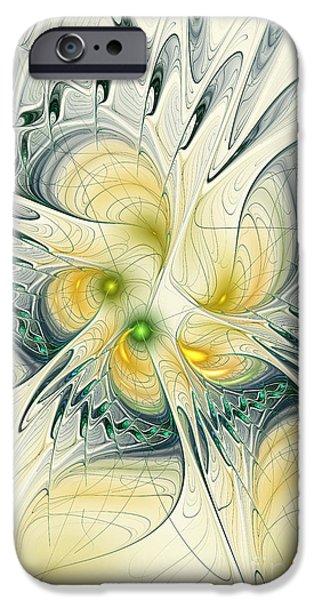 Green Surreal Geometric iPhone Cases - Goddess Isis iPhone Case by Deborah Benoit