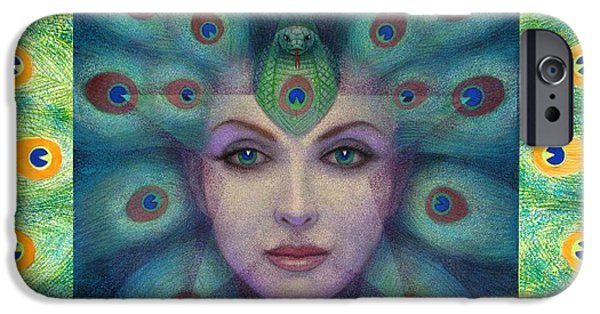 Visionary Paintings iPhone Cases - Goddess Isis Visions iPhone Case by Sue Halstenberg