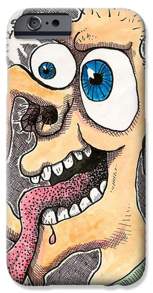 Eerie Drawings iPhone Cases - Gods In My Eye iPhone Case by Ralf Schulze