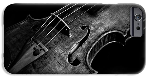 Music Pyrography iPhone Cases - Goffriller Violin Black and White iPhone Case by Sam Hymas