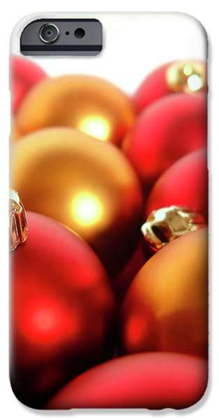 Gold and Red Xmas Balls iPhone Case by Carlos Caetano