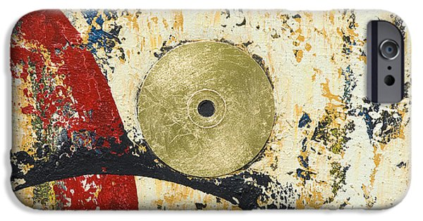 Disc Mixed Media iPhone Cases - Gold and Silver 1 iPhone Case by Mauro Celotti