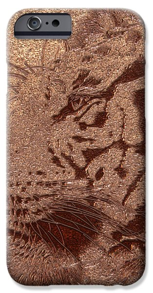Digital Art Pyrography iPhone Cases - Gold Bengal iPhone Case by Mayhem Mediums