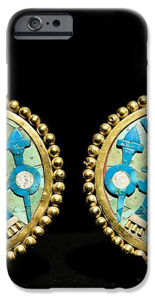 Gold Ear Ornaments, Moche Florescent iPhone Case by Tony Camacho