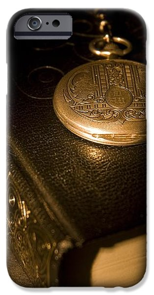 Gold Pocket Watch Resting On A Book iPhone Case by Philippe Widling