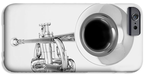 Music Photographs iPhone Cases - Gold Trumpet Isolated On White iPhone Case by M K  Miller