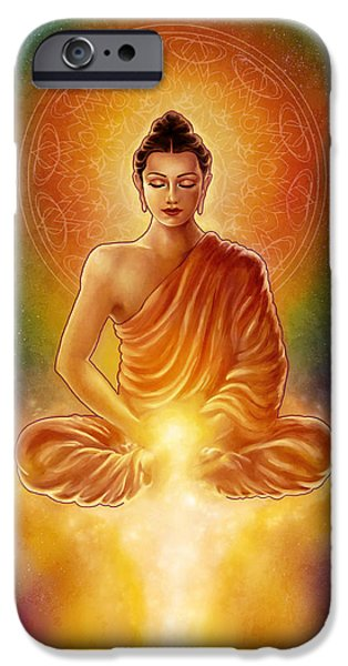 Golden Buddha Blessings iPhone Case by Caroline Jamhour
