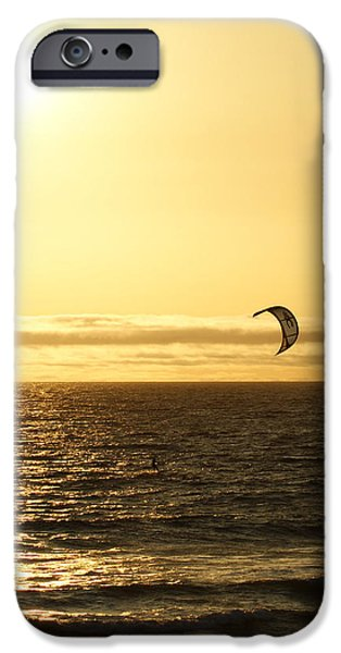 Kite Surfing iPhone Cases - Golden Day iPhone Case by Ernie Echols