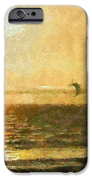 Kite Surfing iPhone Cases - Golden Day Painterly iPhone Case by Ernie Echols