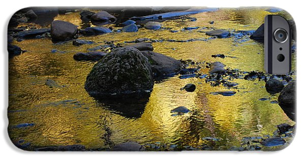 Sedona iPhone Cases - Golden Fall Reflection iPhone Case by Heather Kirk