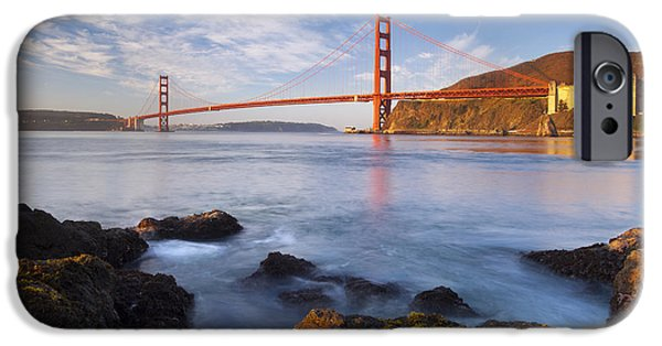 Sausalito Ca iPhone Cases - Golden Gate at dawn iPhone Case by Brian Jannsen