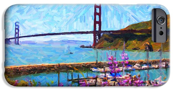 Sf iPhone Cases - Golden Gate Bridge Viewed From Fort Baker iPhone Case by Wingsdomain Art and Photography