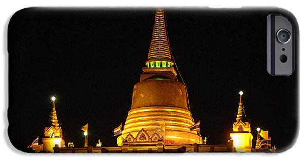 Historic Site iPhone Cases - Golden Mount Temple Bangkok iPhone Case by Bob Christopher