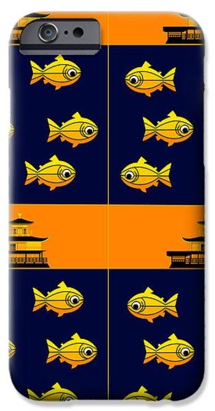 Asbjorn Lonvig Digital iPhone Cases - Golden Pavilion in Kyoto Japan and golden trouts iPhone Case by Asbjorn Lonvig