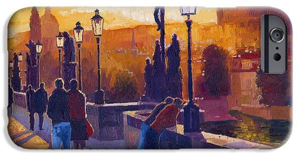People iPhone Cases - Golden Prague Charles Bridge Sunset iPhone Case by Yuriy  Shevchuk
