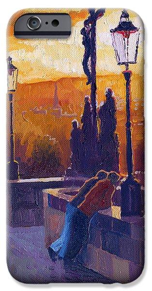 Golden Prague Charles Bridge Sunset iPhone Case by Yuriy  Shevchuk